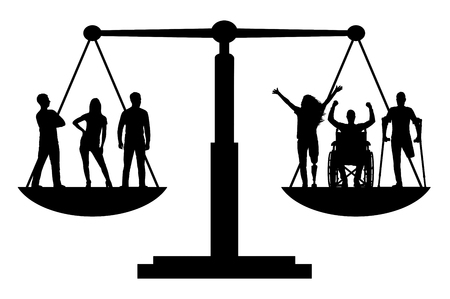 Vector silhouette invalids equal in rights in the balance with healthy people. Conceptual scene, element for design