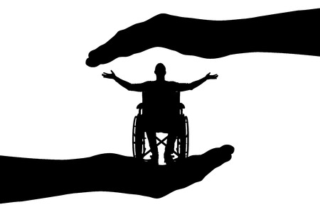 Vector silhouette happy disabled man in wheelchair in hands of help. Conceptual scene, element for design