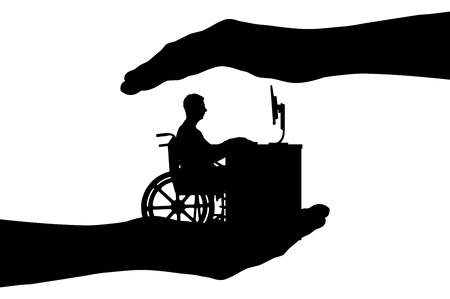 Vector silhouette employee is a disabled person in a wheelchair working with a computer at the table, he is in the hands of man. Conceptual scene, element for design