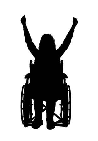Glückliche behinderte Frau des Vektorschattenbildes im Rollstuhl. Konzeptszene, Element für Design