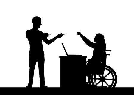 Vector silhouette happy disabled woman in a wheelchair on a background with the man who supports it. Conceptual scene, element for design