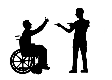 Vector silhouette happy disabled person in a wheelchair and comrade who supports it. Conceptual scene, design element Ilustração