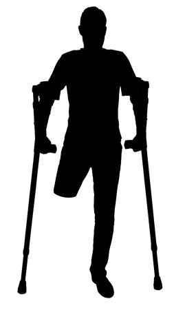 Vector silhouette of a man with an amputated leg standing with crutches. The concept of people with disabilities Illustration