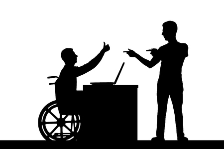 Vector silhouette worker disabled male in a wheelchair with an employee at work. Conceptual scene, element for design Illustration