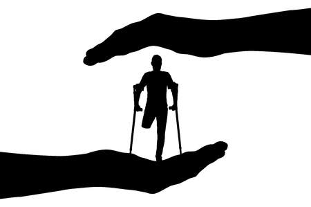 Vector silhouette disabled person with crutches without a leg in hands. Conceptual scene, element for design