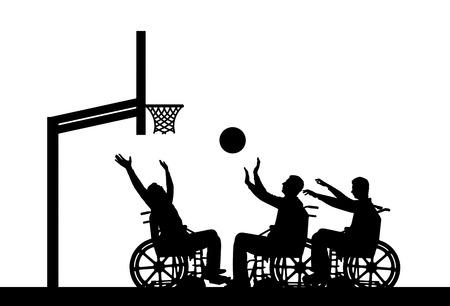 Vector silhouet drie mensen met een handicap spelen rolstoel basketbal. Het concept van sport levensstijl mensen met een handicap