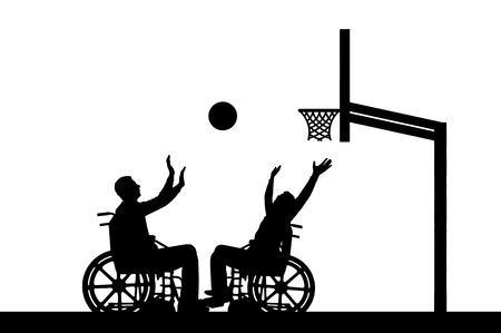 Vector silhouette two disabled people play wheelchair basketball . The concept of sports lifestyle people with disabilities