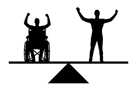 Vector silhouette disabled person in a wheelchair equal rights in the balance with healthy. Conceptual scene, element for design