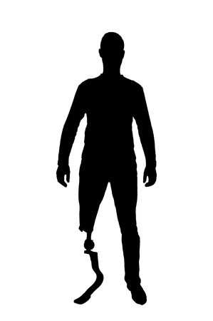 Vector silhouette man with the prosthetic leg standing. The concept of a disabled person with a prosthetic leg Illustration