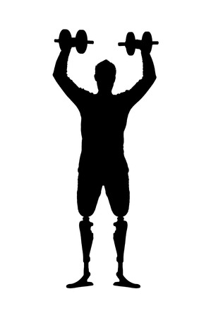 Vector silhouette man with a prosthetic leg standing with dumbbells in hand. The concept of disabled people in sport Illustration