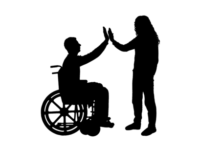 Vector silhouette man disabled in a wheelchair from having fun with each other. Conceptual scene, element for design Vettoriali