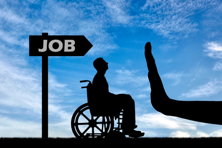 Gesture Hand Stop and disabled in a wheelchair looking for a job. Concept of Discrimination in Employment of People with Disabilities Standard-Bild