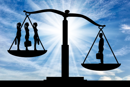 A silhouette of one man is more powerful than three women on the scales of justice. The concept of gender inequality and discrimination