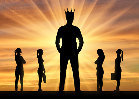 Silhouette of a big man with a crown and four small women near him.