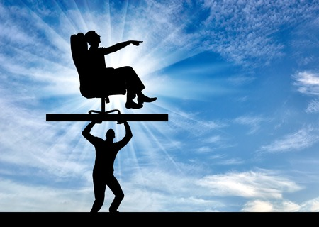 Silhouette of a selfish man sitting in a chair, points to another man who carries it, where to move. The concept of selfish behavior towards other people