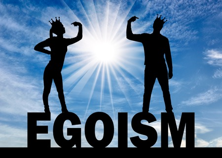 Silhouette of a narcissistic woman and a man with a crown on her head showing each finger on herself standing on the word egoism. Everyone is trying to draw attention to himself. The concept of narcissism and selfishness in society