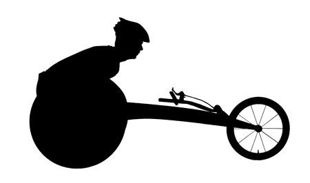Vector silhouette of sportsman disabled in a racing wheelchair. The concept of disabled sportsmen