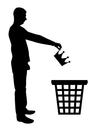 Silhouette vector of a man throws a crown in the garbage bin. The concept of selfishness as a bad habit from which it is necessary to refuse Vettoriali