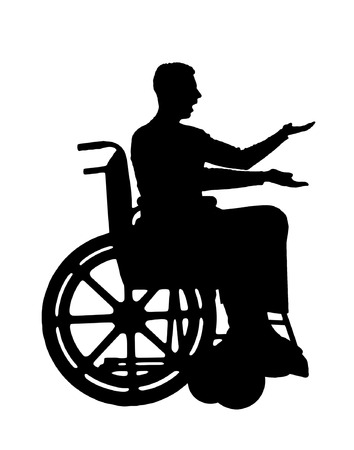 Vector silhouette disabled in a wheelchair. Conceptual image of a disabled person Illustration