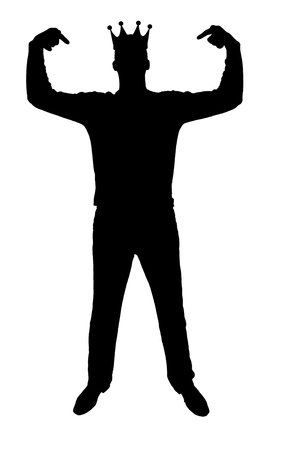 Silhouette vector of a selfish man with a crown on his head