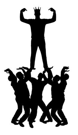 Vecteur silhouette d'un homme égoïste et narcissique avec une couronne sur la tête, debout au-dessus d'autres personnes