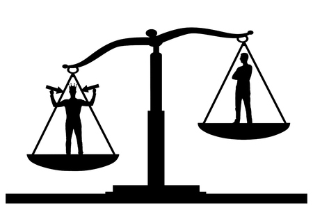 Silhouette vector selfish man with a crown on his head in priority on the scales of justice with an ordinary man. The concept of a selfish and narcissistic personality
