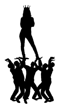 Silhouette vector of a selfish and narcissistic woman with a crown on her head standing on the hands of men. The concept of selfishness and narcissistic personality