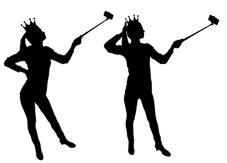A silhouette vector a narcissistic and selfish woman with a crown on her head, makes selfie on the phone. The concept of narcissism and selfishness