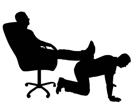 Silhouette vector of a selfish man sitting in a chair, threw back his legs on the back of a man. The concept of discrimination and inequality Çizim