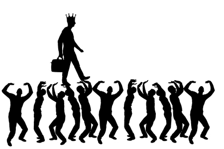 Silhouette vector of a walking selfish and narcissistic man with a crown on his head on the hands of the crowd. The concept of selfishness and narcissistic personality