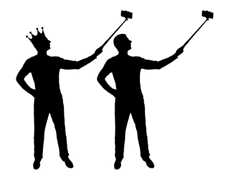 Silhouette vector of a narcissistic and selfish man with a crown on his head, taking a selfie