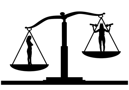 Silhouette vector of an ordinary woman on the scales of justice in priority over a selfish woman with a crown on her head Illusztráció