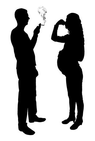 Silhouette vector of a man smoking near a pregnant woman Çizim