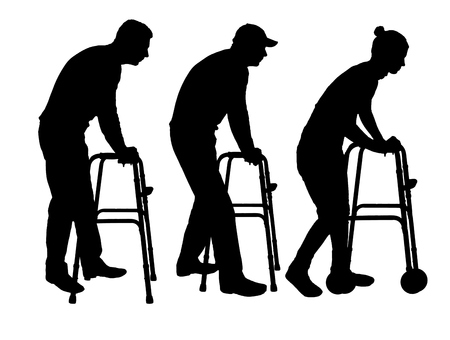 Silhouette vector of a disabled man and woman walking, using a walker. The concept of rehabilitation of people with injuries Illustration