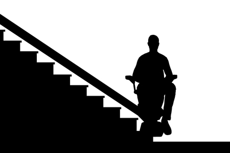Silhouette vector Disabled person climbs on elevator for disabled on stairs. Concept disabled lift, elevator, handicap