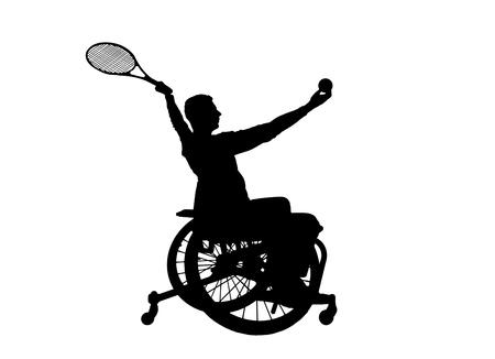 Silhouetvector van gehandicapte persoon in een rolstoel speeltennis. Het concept van gehandicapten met een actieve levensstijl