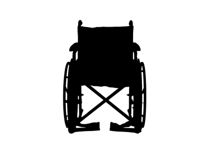 Vector silhouette wheelchair on a white background