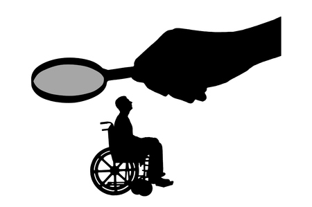 Vector silhouette employer's hand looks through the magnifying glass to an invalid in a wheelchair waiting for an interview for work. Concept of discrimination and inequality of people with disabilities Vector Illustration
