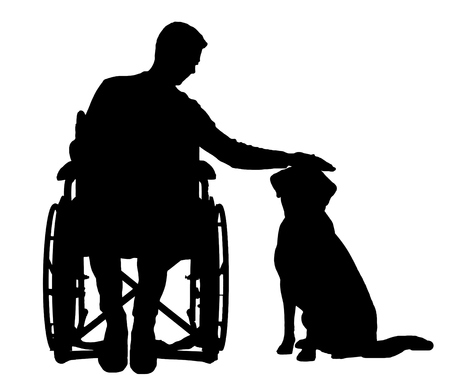 Silhouette vector disabled man in a wheelchair stroking his dog. The concept of the way of life of people with disabilities
