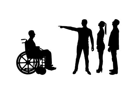 Silhouet vector. Menigte van mensen maakt het voor een invalide in een rolstoel duidelijk dat hij weg moet lopen. Het concept van discriminatie van mensen met een handicap in de samenleving
