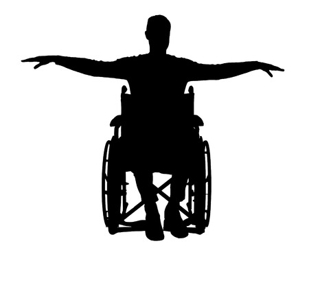 Silhouette vector of happy disabled man in wheelchair. The concept of happy people with disabilities Illustration