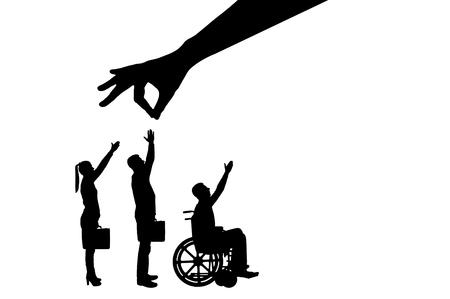 Sylwetka wektor ręka pracodawcy wybiera zdrowego pracownika z tłumu ludzi, a nie inwalidę na wózku inwalidzkim. Pojęcie dyskryminacji i nierówności w zatrudnianiu osób niepełnosprawnych