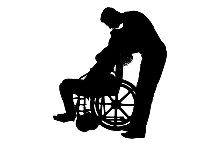 Vector silhouette of a man kissing a disabled woman in a wheelchair