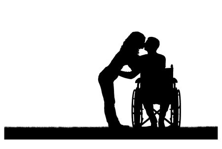 Vector silhouette of a disabled man in a wheelchair and his wife who is kissing. The concept of caring and supporting disabled people
