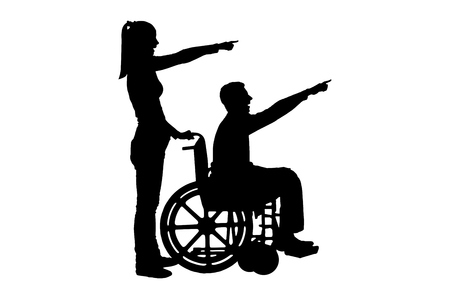 Silhouette vector of a disabled man in a wheelchair and his wife have a good time. The concept of caring and supporting disabled people in the family