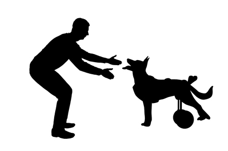 Silhouette vector Man calling for a paralyzed dog in a wheelchair. The concept of a dog in a wheelchair