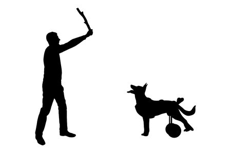 Silhouette vector Dog in a wheelchair waits for her master to throw her a stick. The concept of normal life in dogs in a wheelchair