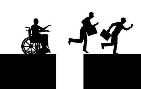 Vector silueta de un trabajador discapacitado en silla de ruedas parado antes de un abismo y trabajadores sanos saltan sobre el abismo y corren. El concepto de desigualdad de las personas con discapacidad.