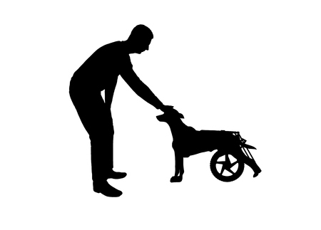 Silhouette vector Man outdoors strokes his paralyzed dog in a wheelchair. The concept of helping pets Çizim