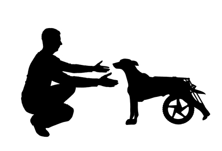 Silhouette vector Man calls for a paralyzed dog in a wheelchair. The concept of a dog in a wheelchair